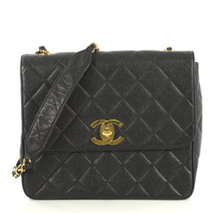 Chanel Vintage Square CC Flap Bag Quilted Caviar Medium Black 43761128