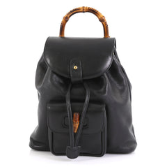 Gucci Vintage Bamboo Backpack Leather Mini Black 43761131