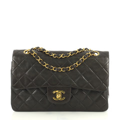 Chanel Vintage Classic Double Flap Bag Quilted Lambskin Small Black 43761159