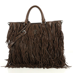 Prada Convertible Fringe Tote Studded Nappa Leather Medium Brown 43761170