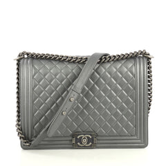 Chanel Boy Flap Bag Quilted Lambskin Large Gray 437731