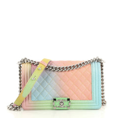 Chanel Rainbow Boy Flap Bag Quilted Painted Caviar Old Medium