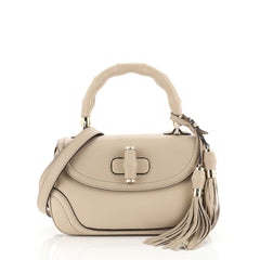 Gucci New Bamboo Convertible Top Handle Bag Leather Medium Neutral 437927
