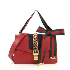 Gucci Sylvie Shoulder Bag Leather Small Red 438424