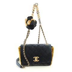 Chanel Camellia Flap Bag Multicolor Quilted Velvet Small Blue 438428