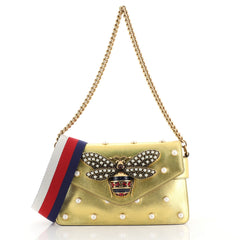 Gucci Broadway Pearly Bee Shoulder Bag Embellished Leather Mini Gold 439031
