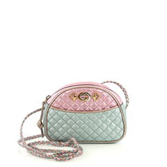 Gucci Camera Shoulder Bag Quilted Laminated Leather Mini Green 439191