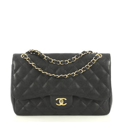 Chanel Classic Double Flap Bag Quilted Caviar Jumbo Black 4393022