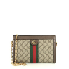 Gucci Ophidia Chain Shoulder Bag GG Coated Canvas Small Neutral 439341