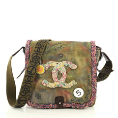 Chanel On The Pavements Graffiti Messenger Bag Canvas Small Green 4395...