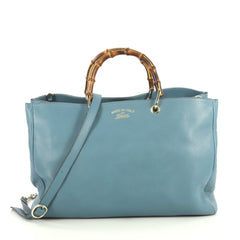 Gucci Bamboo Shopper Tote Leather Large Blue 439832