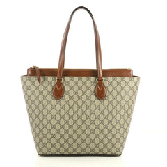 Gucci Linea A Zip Tote GG Coated Canvas Medium Brown 440031
