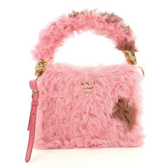 Prada Light Frame Shoulder Bag Shearling with Saffiano Leather Small Pink 4401356