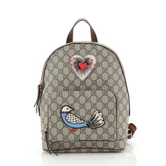 Gucci Zip Pocket Backpack Embroidered GG Coated Canvas Small Brown 4401378