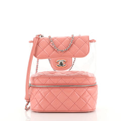 Chanel Zip Around Flap Bag Quilted Crumpled Calfskin and PVC Small Pin...