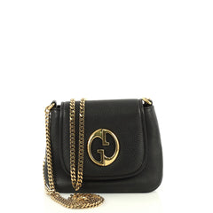 Gucci 1973 Chain Shoulder Bag Leather Small Black 441592