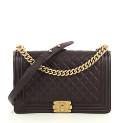 Chanel Boy Flap Bag Quilted Lambskin New Medium Purple 4420212