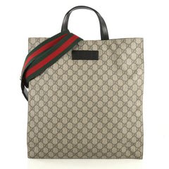 Gucci Convertible Soft Open Tote GG Coated Canvas Tall Brown 442028