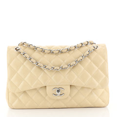Chanel Classic Double Flap Bag Quilted Caviar Jumbo Neutral 443031