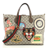Gucci Courrier Convertible Soft Open Tote GG Coated Canvas with Applique Large Brown 4430411