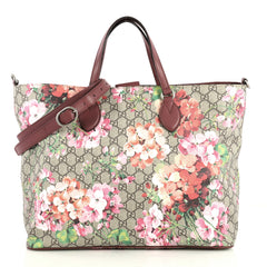 Gucci Convertible Soft Tote Blooms Print GG Coated Canvas Medium Brown 443045