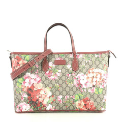 Gucci Convertible Zip Tote Blooms Print GG Coated Canvas Large Brown  443049