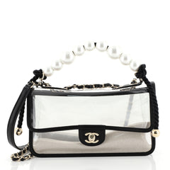 Chanel Sand By The Sea Pearl Flap Bag PVC with Lambskin Medium Black 4...