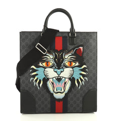 Gucci Angry Cat Convertible Web Tote GG Coated Canvas Tall Black 443592