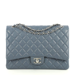 Chanel Classic Double Flap Bag Quilted Caviar Maxi Blue 443931