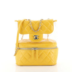 Chanel Zip Around Flap Bag Quilted Crumpled Calfskin and PVC Small Yel...
