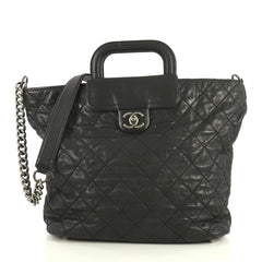 Chanel In The Mix Shopping Tote Quilted Iridescent Calfskin Large Blac...