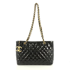 Chanel Vintage CC Charm Tote Quilted Patent Medium Black 44471177