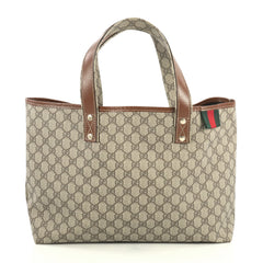 Gucci Web Loop Tote GG Coated Canvas Medium Brown 4447142