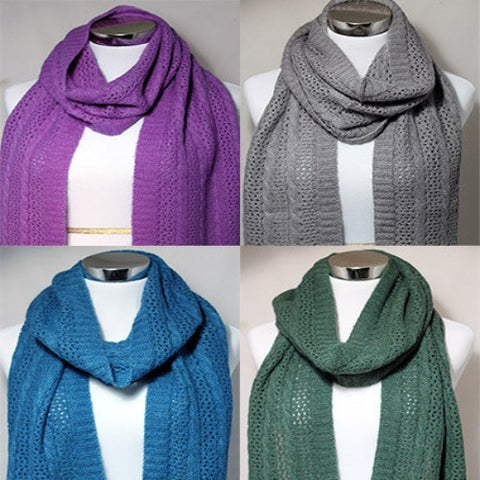 100% Alpaca Cable & Lace Scarf - Dyed in 8 colors