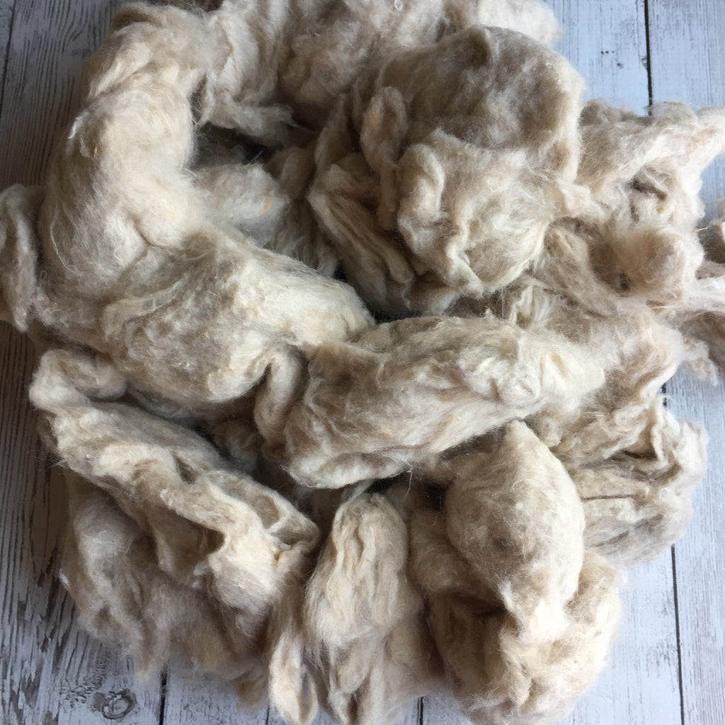Carded Undyed Sari Silk - 4 oz