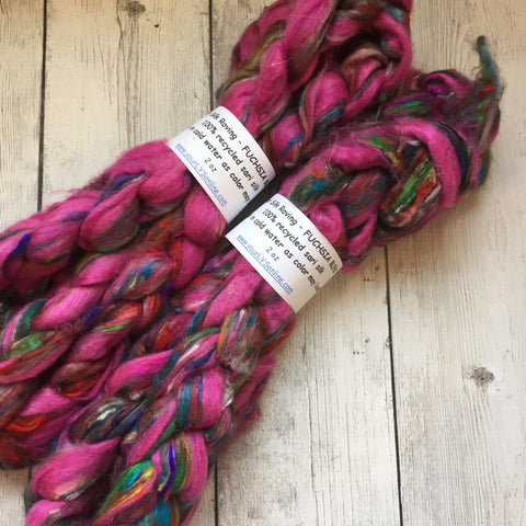 Sari Silk Waste Roving - FUCHSIA BLEND - 2 oz