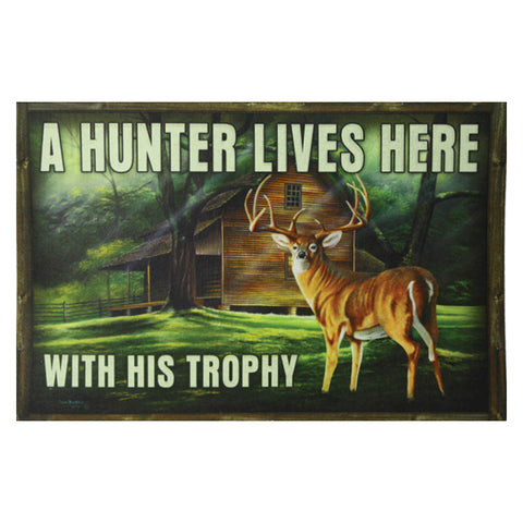 A Hunter Lives Here With His Trophy Deer Door Mat