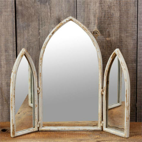 Cathedral Window Pane Triple Mirror
