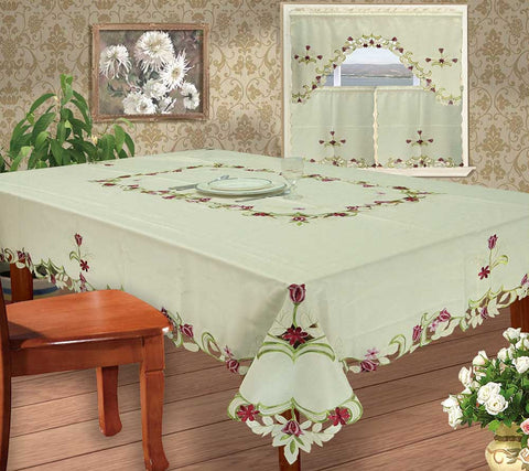 Beautiful Embroidered Tablecloth or Curtain