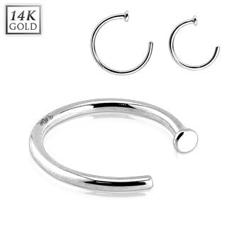 14k Solid White Gold Nose Hoop