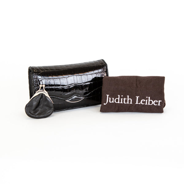 Judith Leiber | Black Leather Clutch