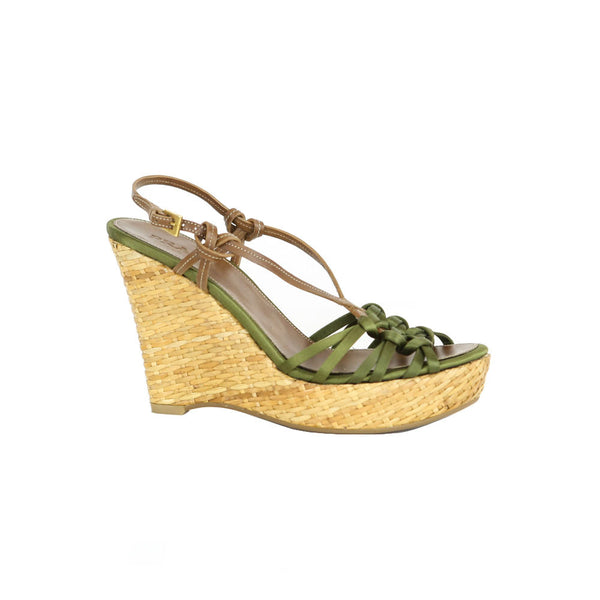 Prada | Green Satin Wedges