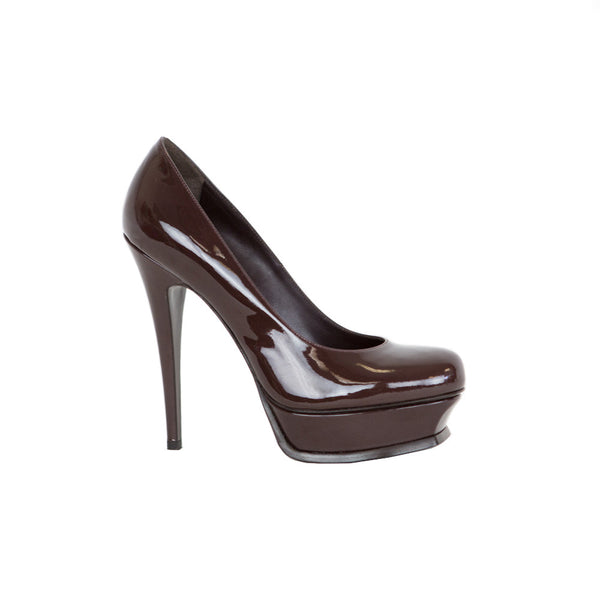 YSL | Brown Patent Leather Platform Pumps