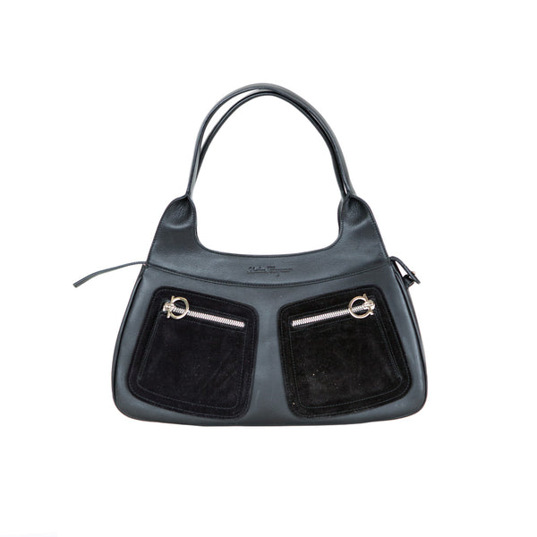 Ferragamo | Black Leather Shoulder Handbag