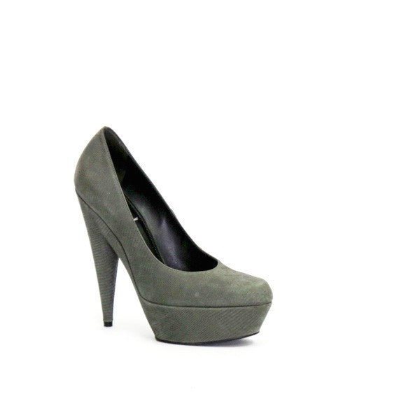 YSL Gray Embossed Suede High Heel