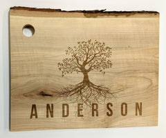 "Personalized Maple Live Edge Cutting Board 8-11"" x 13"""