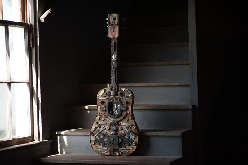 Dirty South Blues Mixed Media Guitar Art Assemblage