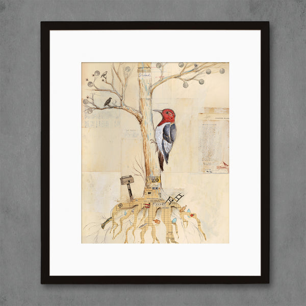 Woodpecker in Tree Backyard Birdwatcher Art Print