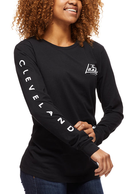 The Land Script - Unisex Long-Sleeve Crew - Navy