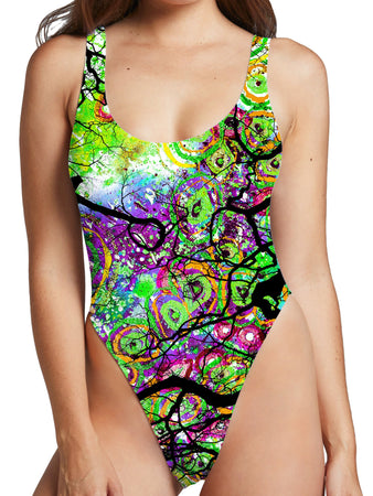Lucid Eye Studios - Radial Roots High Cut One-Piece Swimsuit